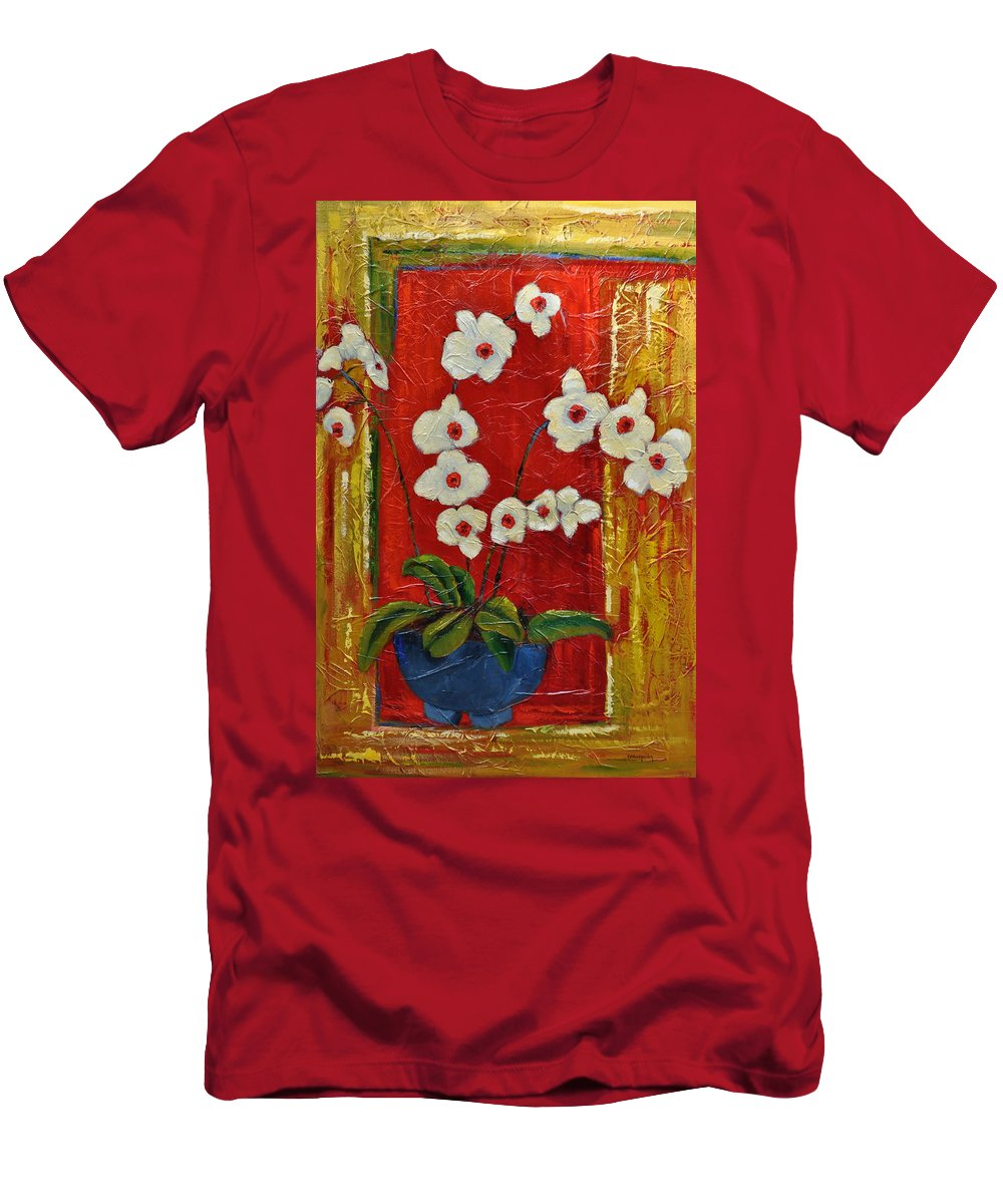 Orchids Men's T-Shirt (Athletic Fit) featuring the painting Ode To Orchids by Ginger Concepcion
