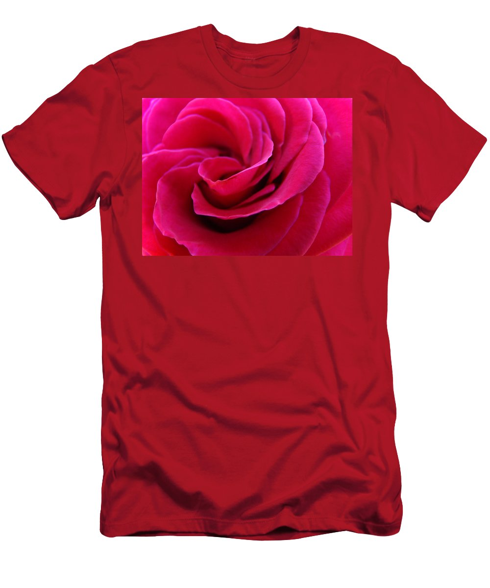 Rose T-Shirt featuring the photograph OFFICE ART ROSE SPIRAL Art Pink Roses Flowers Giclee Prints Baslee Troutman by Patti Baslee