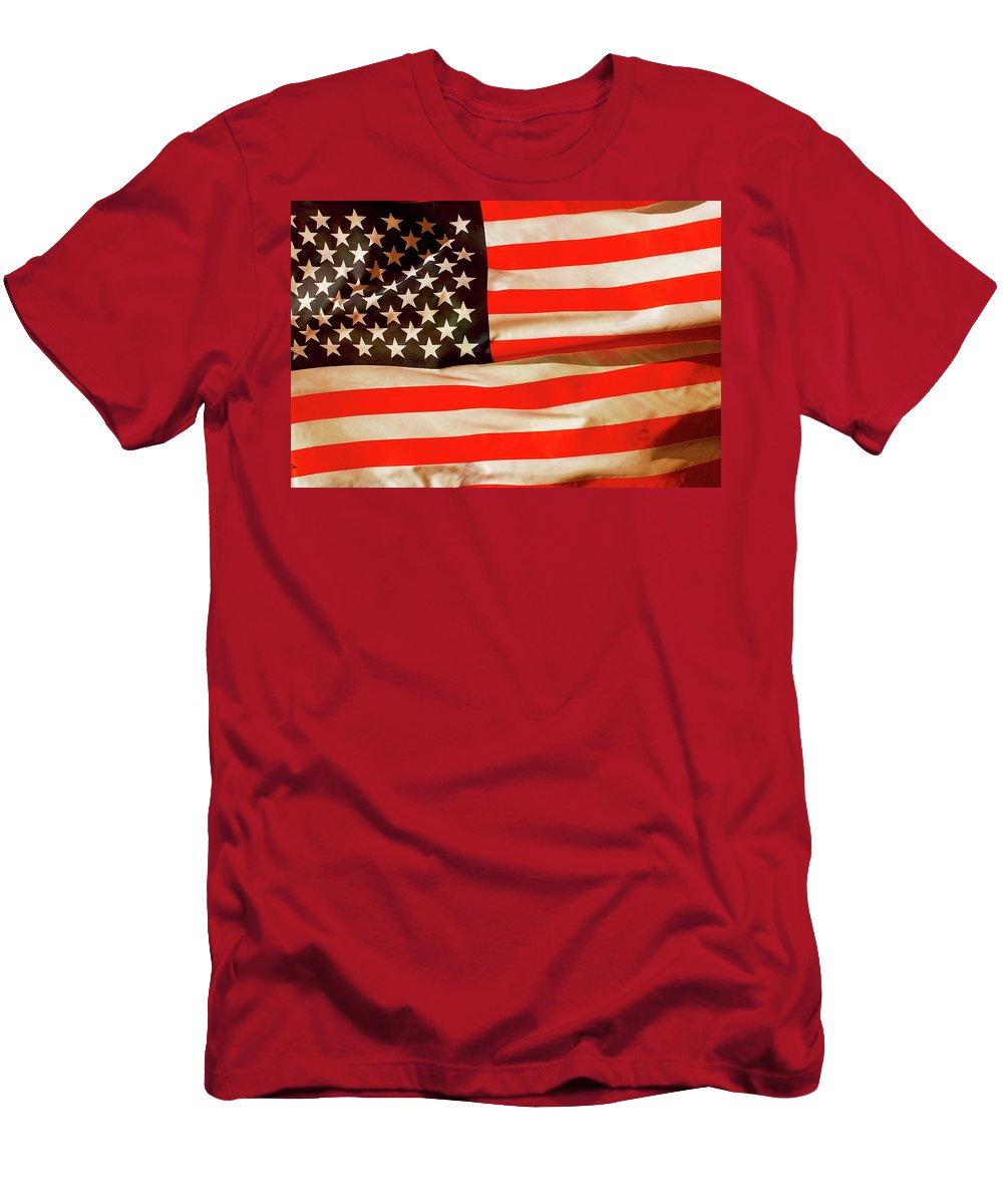 Old Men's T-Shirt (Athletic Fit) featuring the photograph Old Glory Flag In Breeze by Phill Petrovic