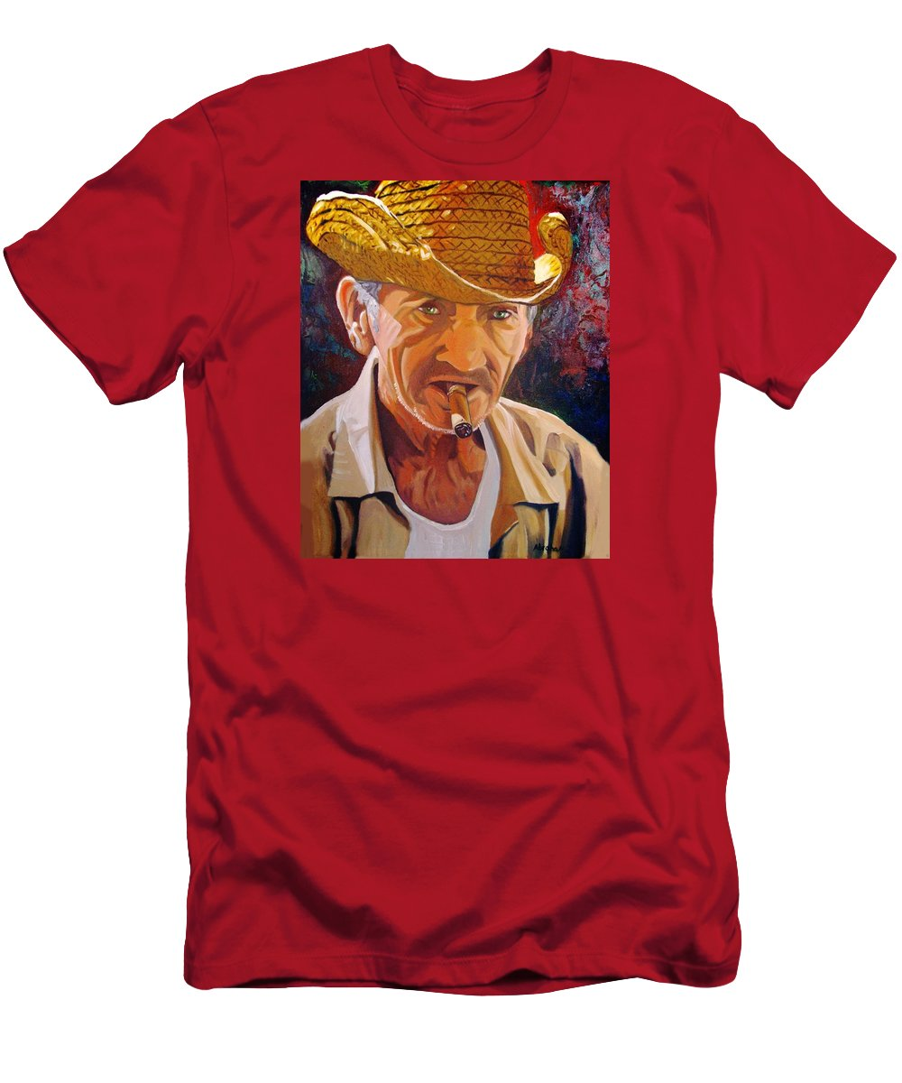 Cuban Art T-Shirt featuring the painting Old Man by Jose Manuel Abraham