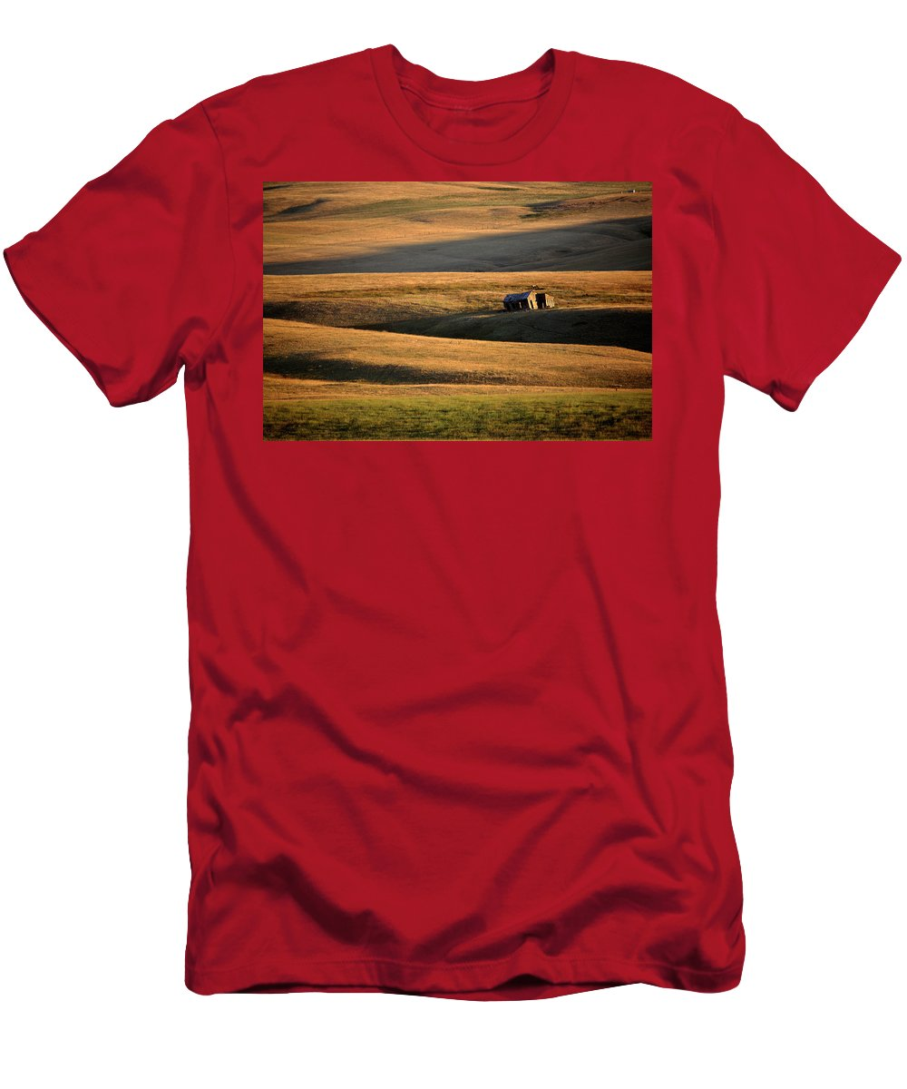 Foothills Men's T-Shirt (Athletic Fit) featuring the digital art Old Ranch Buildings In Alberta by Mark Duffy