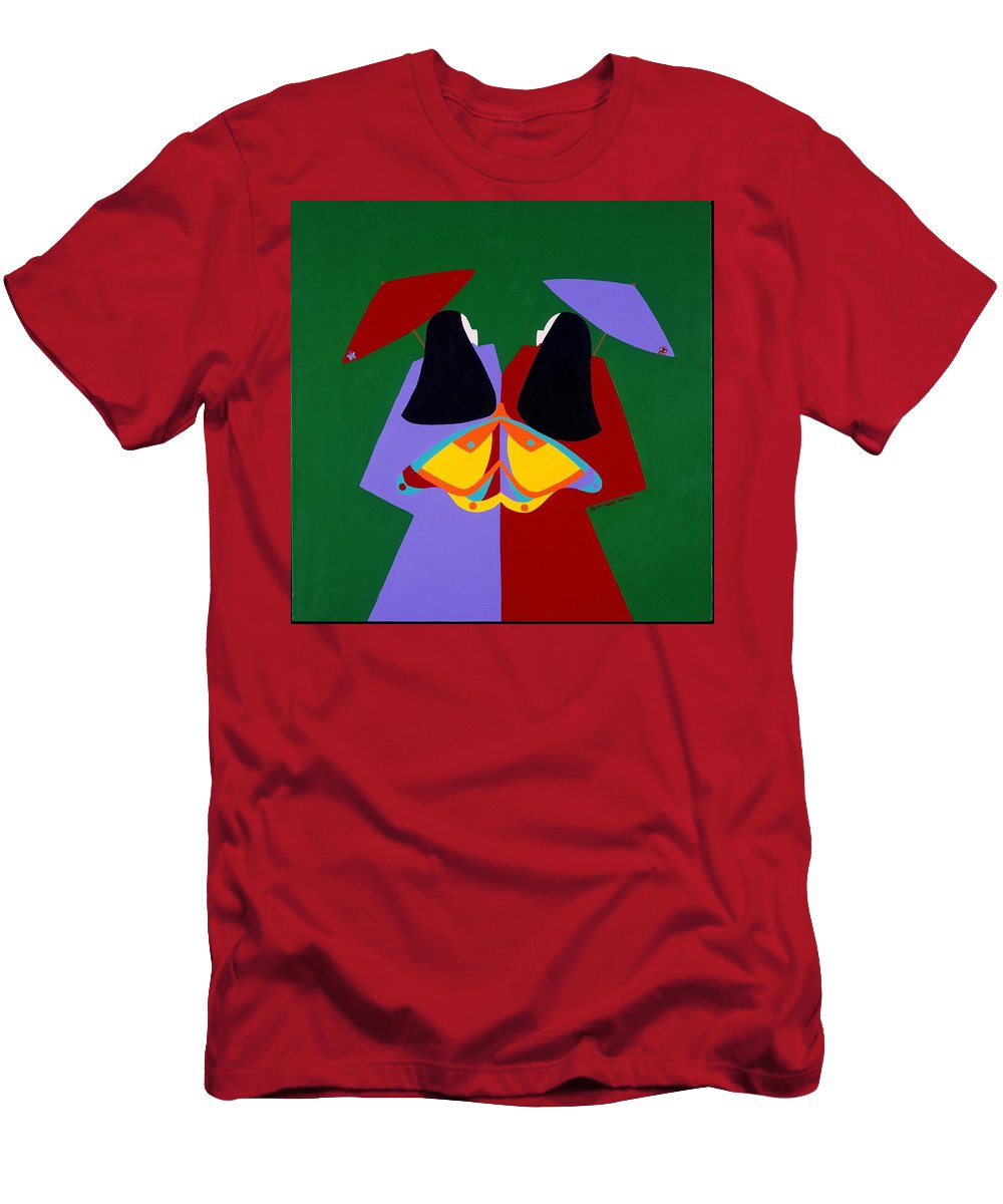 Asian Men's T-Shirt (Athletic Fit) featuring the painting Old Same by Synthia SAINT JAMES
