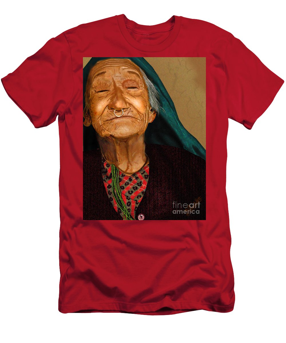 Acrylic Men's T-Shirt (Athletic Fit) featuring the digital art Old Women by Artist Nandika Dutt