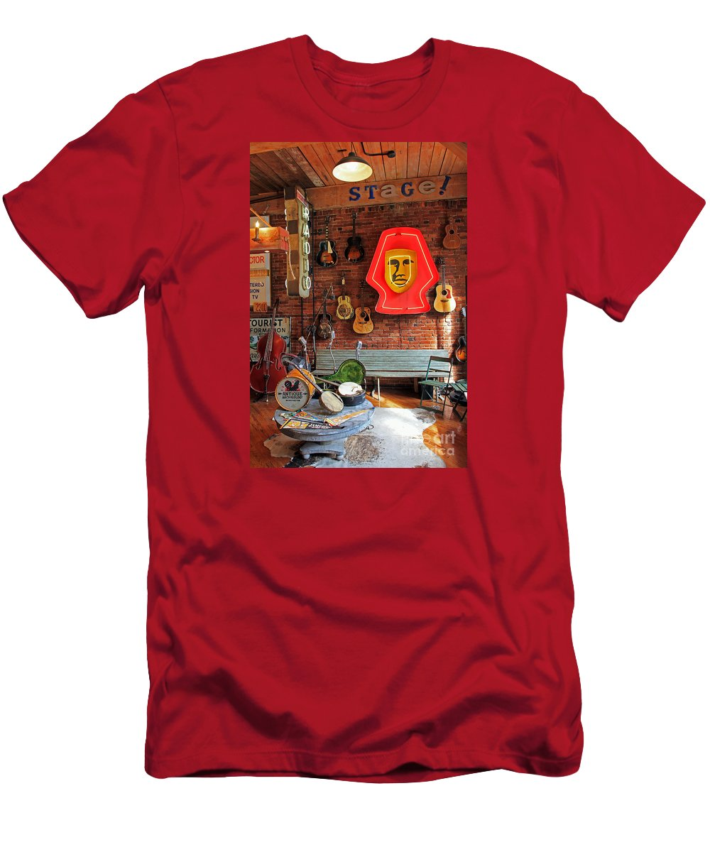 Guitars Men's T-Shirt (Athletic Fit) featuring the photograph On Stage by Jennifer Robin