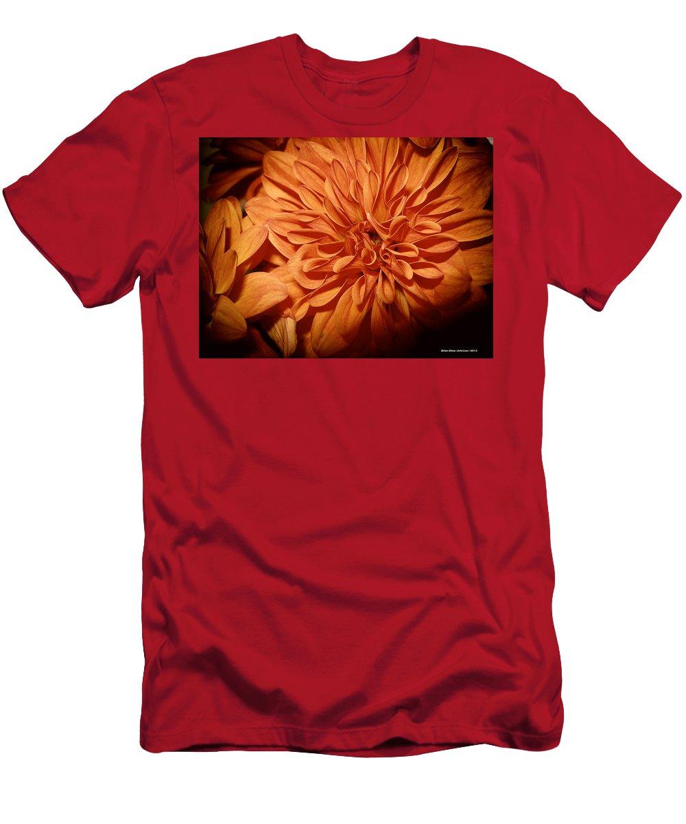 Orange Flower Men's T-Shirt (Athletic Fit) featuring the digital art Orange Flower Enhanced 2016 by Brian Gilna