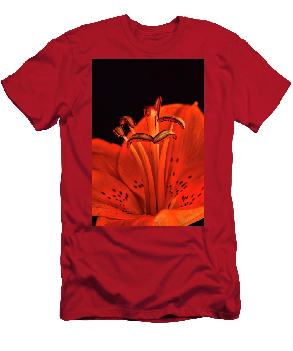 Lilly Men's T-Shirt (Athletic Fit) featuring the photograph Orange Lilly by Saija Lehtonen