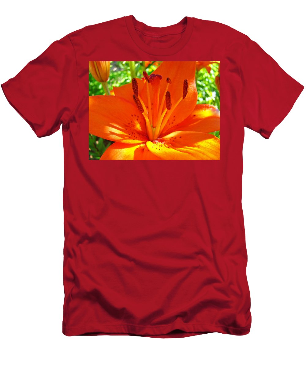 Lilies Men's T-Shirt (Athletic Fit) featuring the photograph Orange Lily Flower Art Print Summer Lily Garden Baslee Troutman by Baslee Troutman