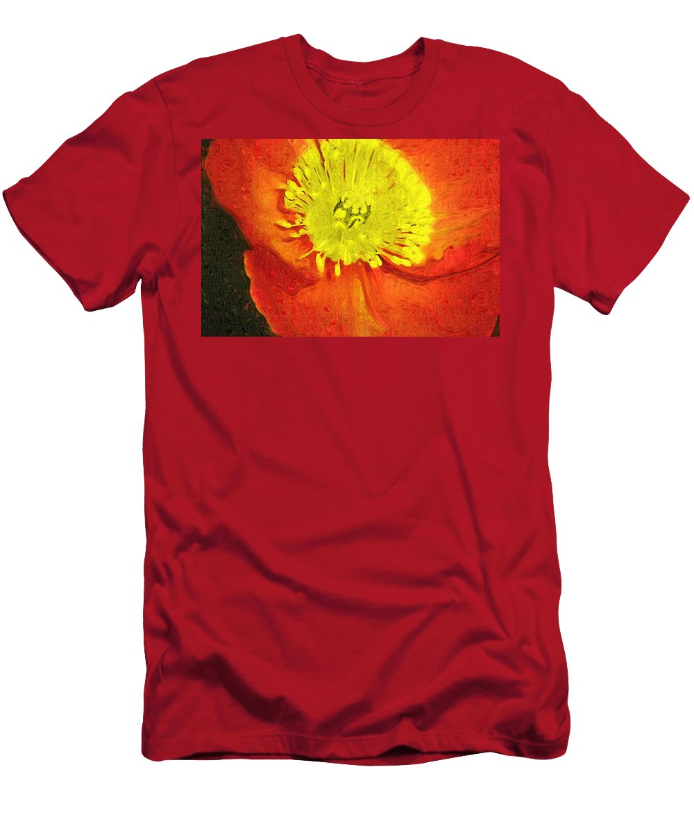 Poppy Men's T-Shirt (Athletic Fit) featuring the photograph Orange Poppy by Donna Bentley