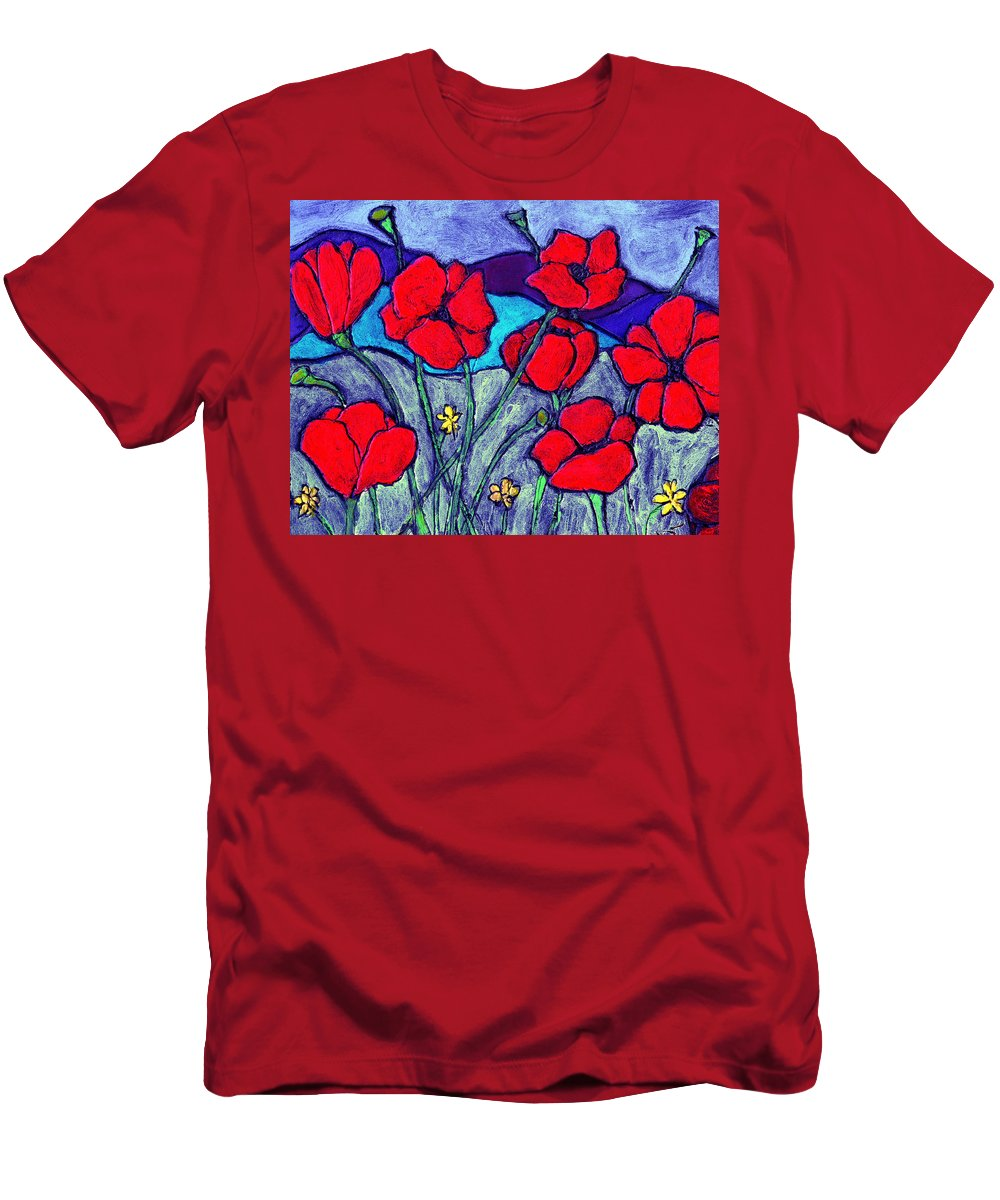 Flowers Men's T-Shirt (Athletic Fit) featuring the painting Orange Red Poppies by Wayne Potrafka