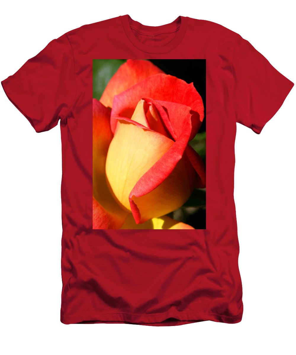 Orange Rosebud Men's T-Shirt (Athletic Fit) featuring the photograph Orange Rosebud by Ralph A Ledergerber-Photography