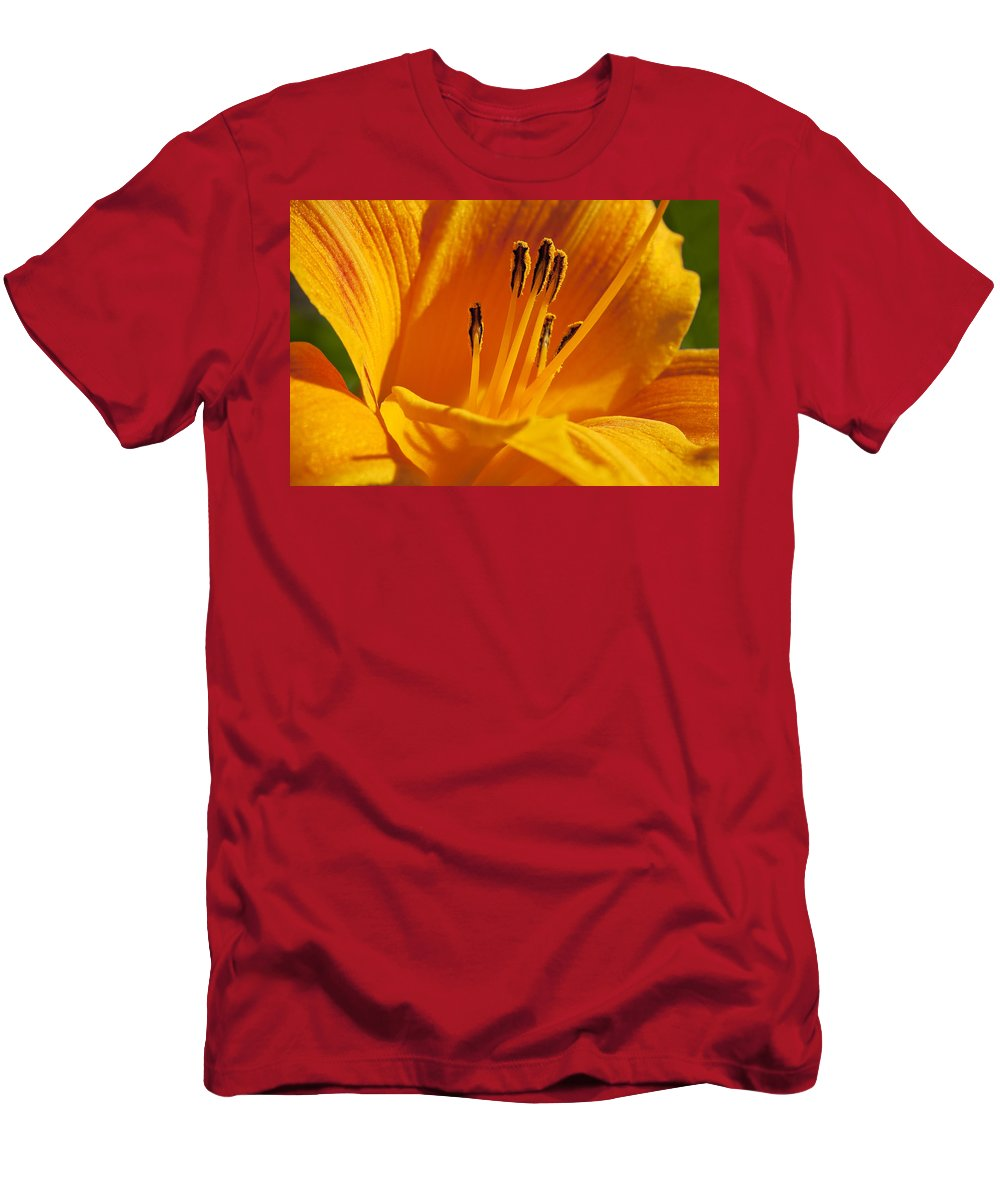 Flowers Men's T-Shirt (Athletic Fit) featuring the photograph Orange Stamens by Kelley King