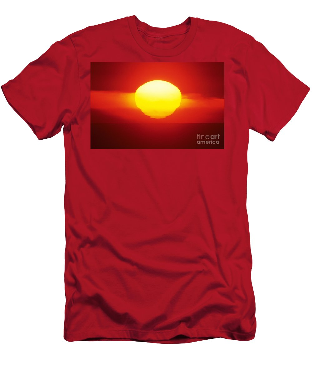 Beautiful Men's T-Shirt (Athletic Fit) featuring the photograph Orange Sunball by Larry Dale Gordon - Printscapes