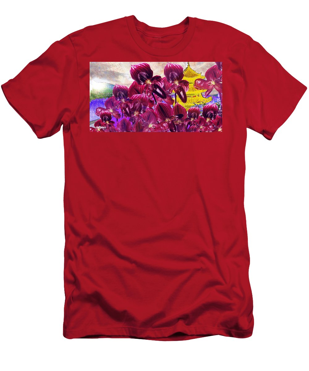Far East Men's T-Shirt (Athletic Fit) featuring the digital art Oriental Orchid Garden by Seth Weaver