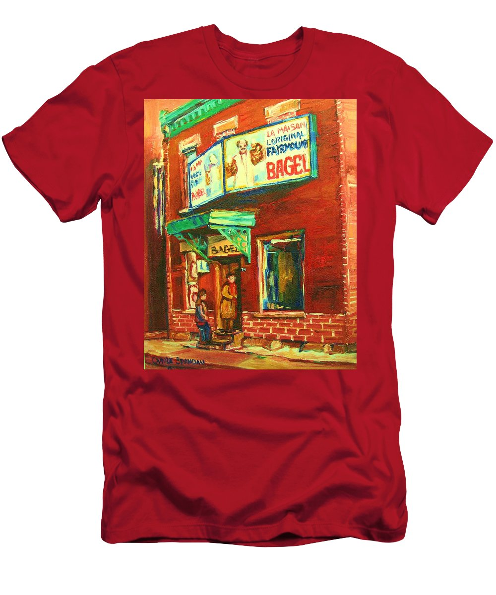 Original Fairmount Bagel Men's T-Shirt (Athletic Fit) featuring the painting Original Fairmount Bagel by Carole Spandau