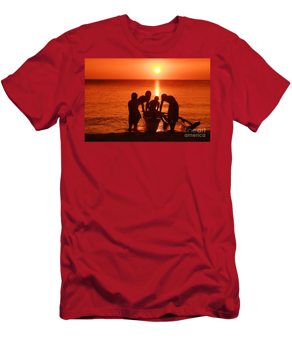 Boy Men's T-Shirt (Athletic Fit) featuring the photograph Outrigger Sunset Silhouet by Vince Cavataio - Printscapes