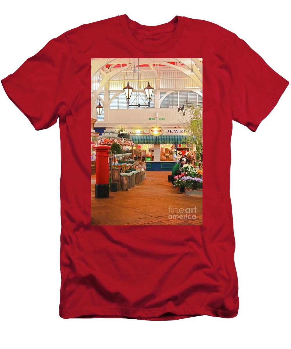 Oxford Men's T-Shirt (Athletic Fit) featuring the photograph Oxford's Covered Market by Terri Waters