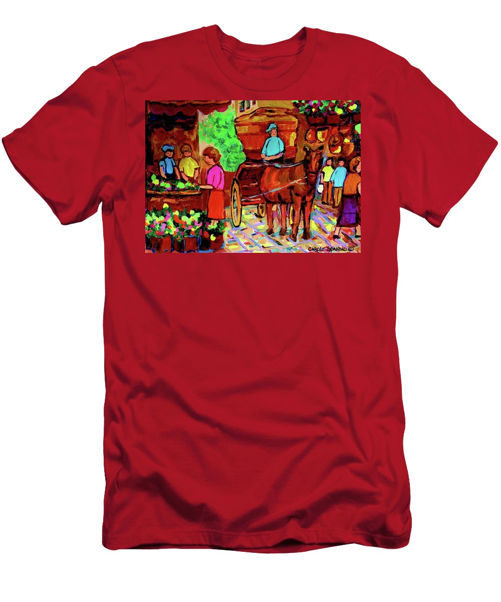 Montreal Men's T-Shirt (Athletic Fit) featuring the painting Paintings Of Montreal Streets Old Montreal With Flower Cart And Caleche By Artist Carole Spandau by Carole Spandau