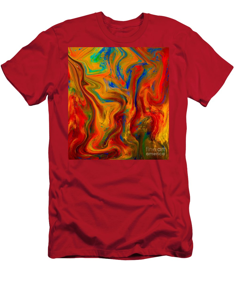 Painting-abstract Acrylic Men's T-Shirt (Athletic Fit) featuring the mixed media Paradise Sands On Palace Walls by Catalina Walker