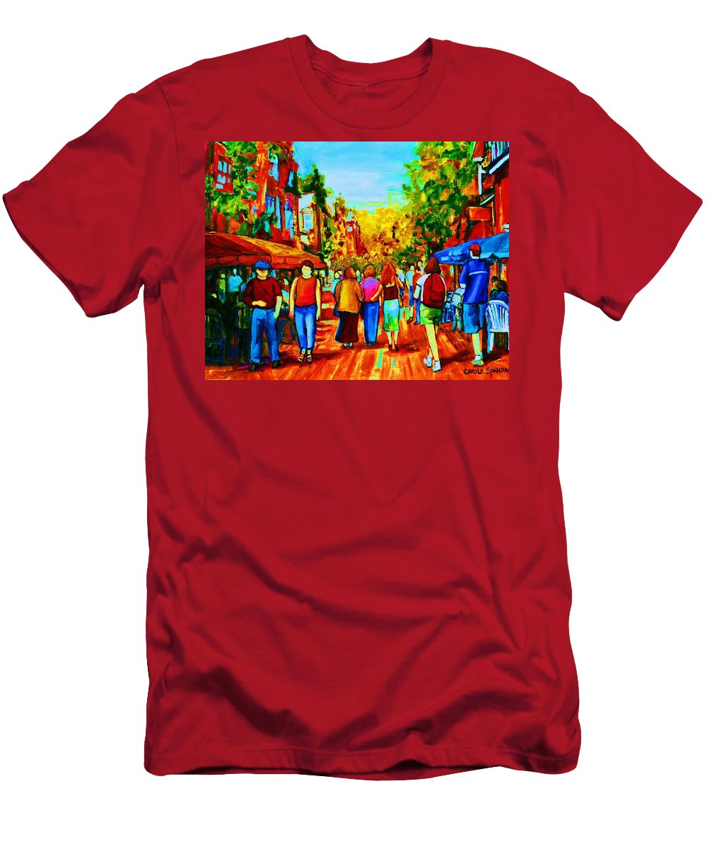 Cafe Scenes Men's T-Shirt (Athletic Fit) featuring the painting Parisian Cafes by Carole Spandau
