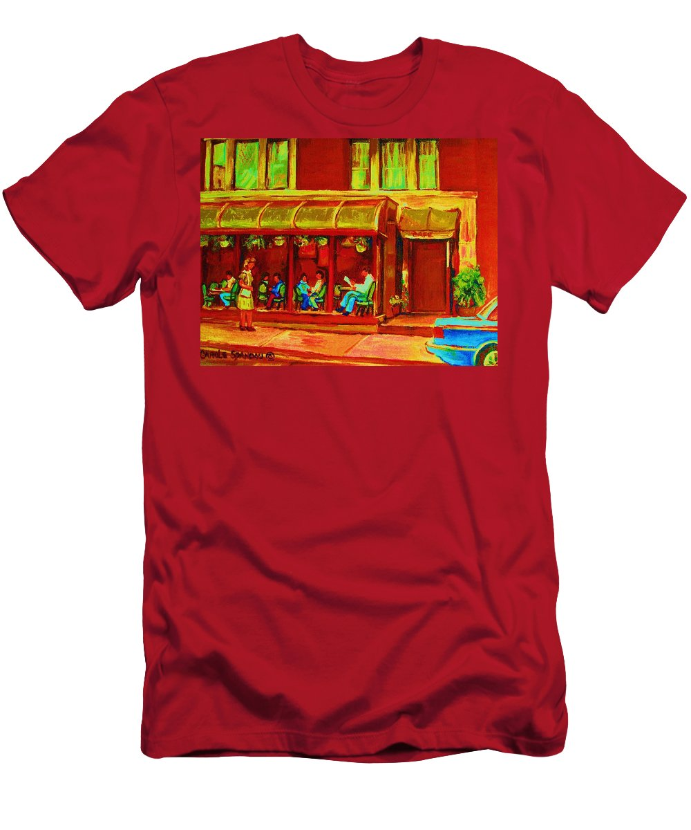 Montreal Men's T-Shirt (Athletic Fit) featuring the painting Park Avenue Montreal Cafe Scene by Carole Spandau