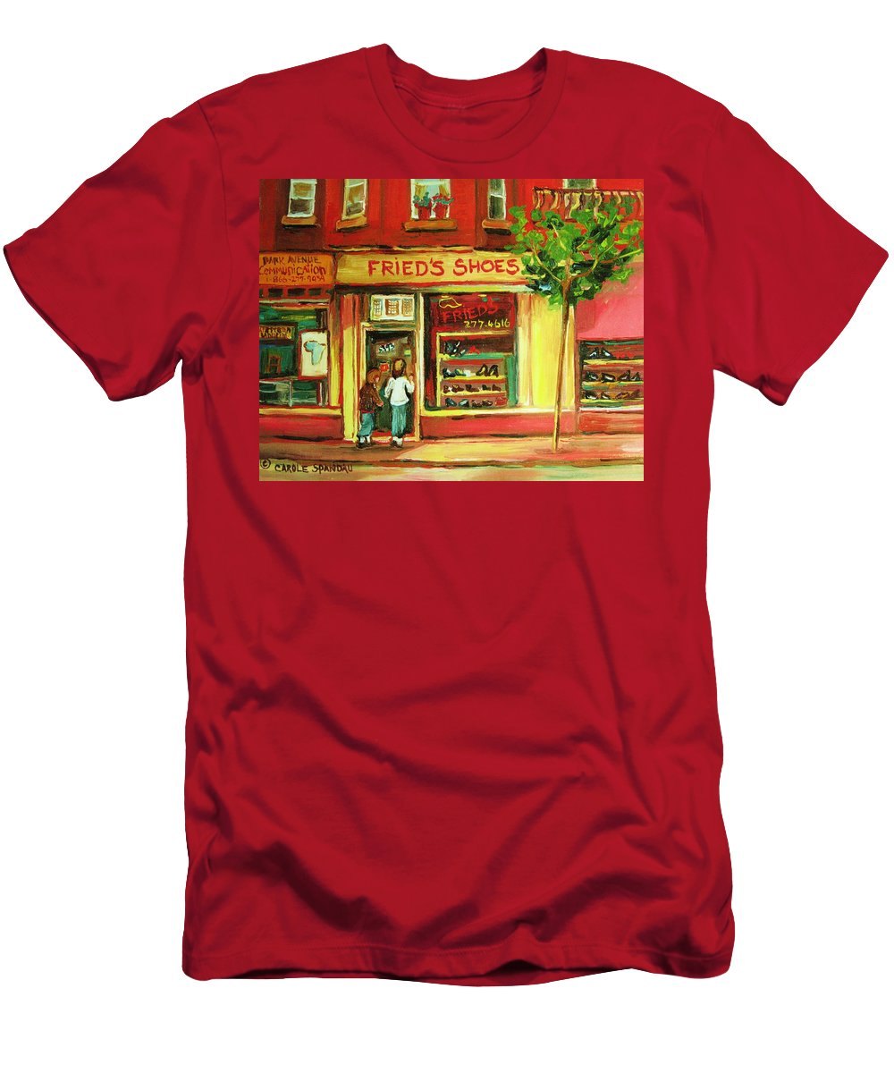 Montreal Men's T-Shirt (Athletic Fit) featuring the painting Park Avenue Shoe Store by Carole Spandau