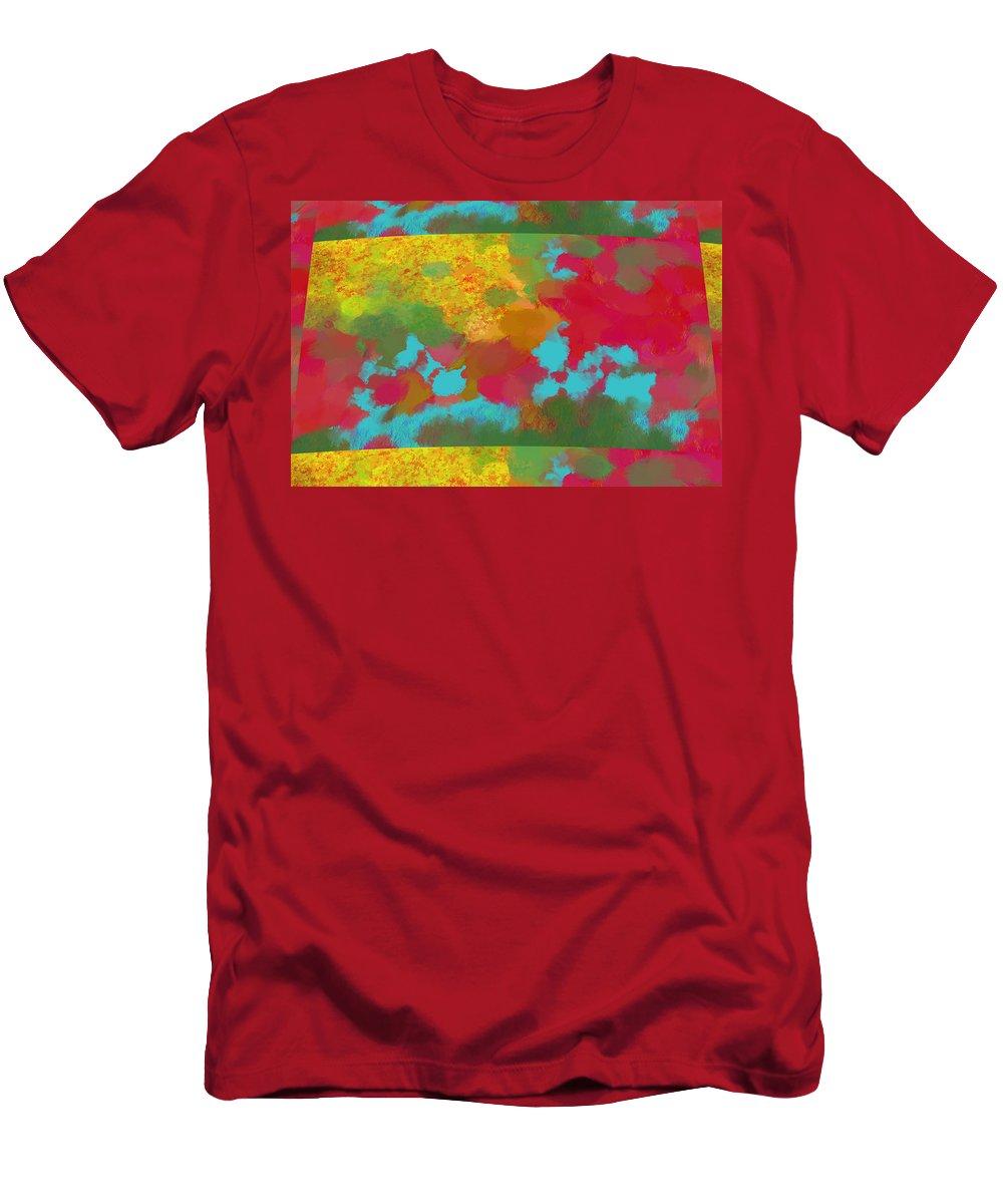 Digital Art Men's T-Shirt (Athletic Fit) featuring the digital art Patchwork Landscape by Donna Blackhall