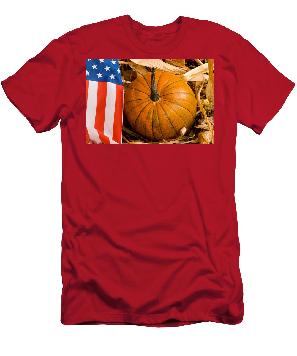 Pumpkin Men's T-Shirt (Athletic Fit) featuring the photograph Patriotic American Pumpkin by James BO Insogna