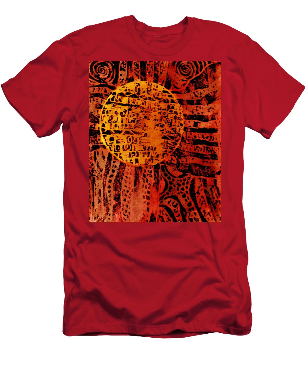 Abstract Men's T-Shirt (Athletic Fit) featuring the painting Patterns In The Sun by Wayne Potrafka