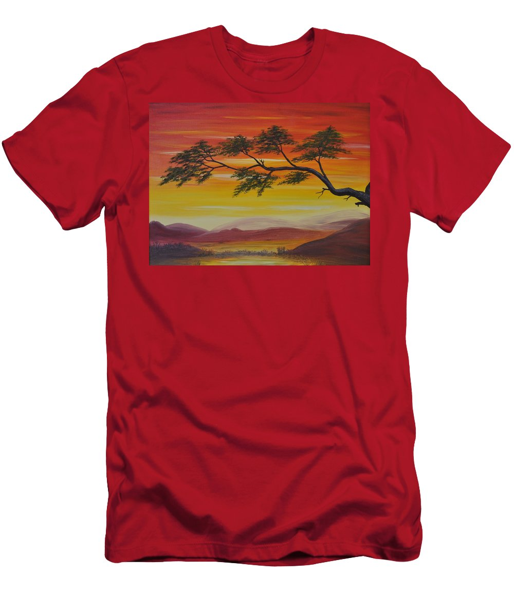 Sunset Men's T-Shirt (Athletic Fit) featuring the painting Peacefulness by Georgeta Blanaru