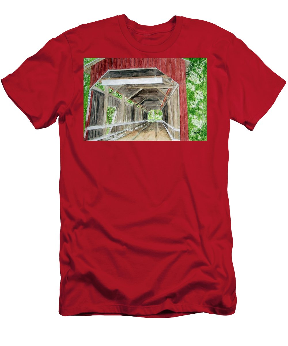Covered Bridge Art Men's T-Shirt (Athletic Fit) featuring the painting Pennsylvania Inside And Out by Larry Wright