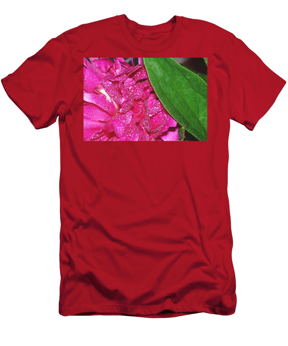 Peony Men's T-Shirt (Athletic Fit) featuring the photograph Peony And Leaf by Nancy Mueller