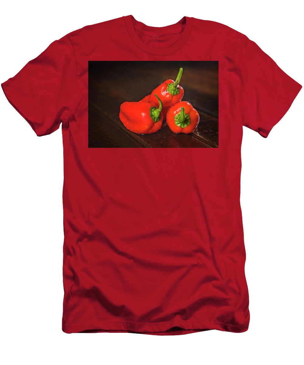 Vegetable Men's T-Shirt (Athletic Fit) featuring the photograph Pepper Medley by Elizabeth Wilson
