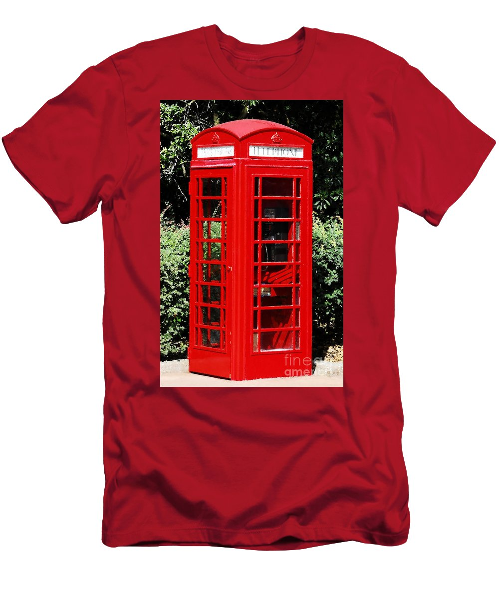 Phone Booth Men's T-Shirt (Athletic Fit) featuring the photograph Phone Booth by David Lee Thompson