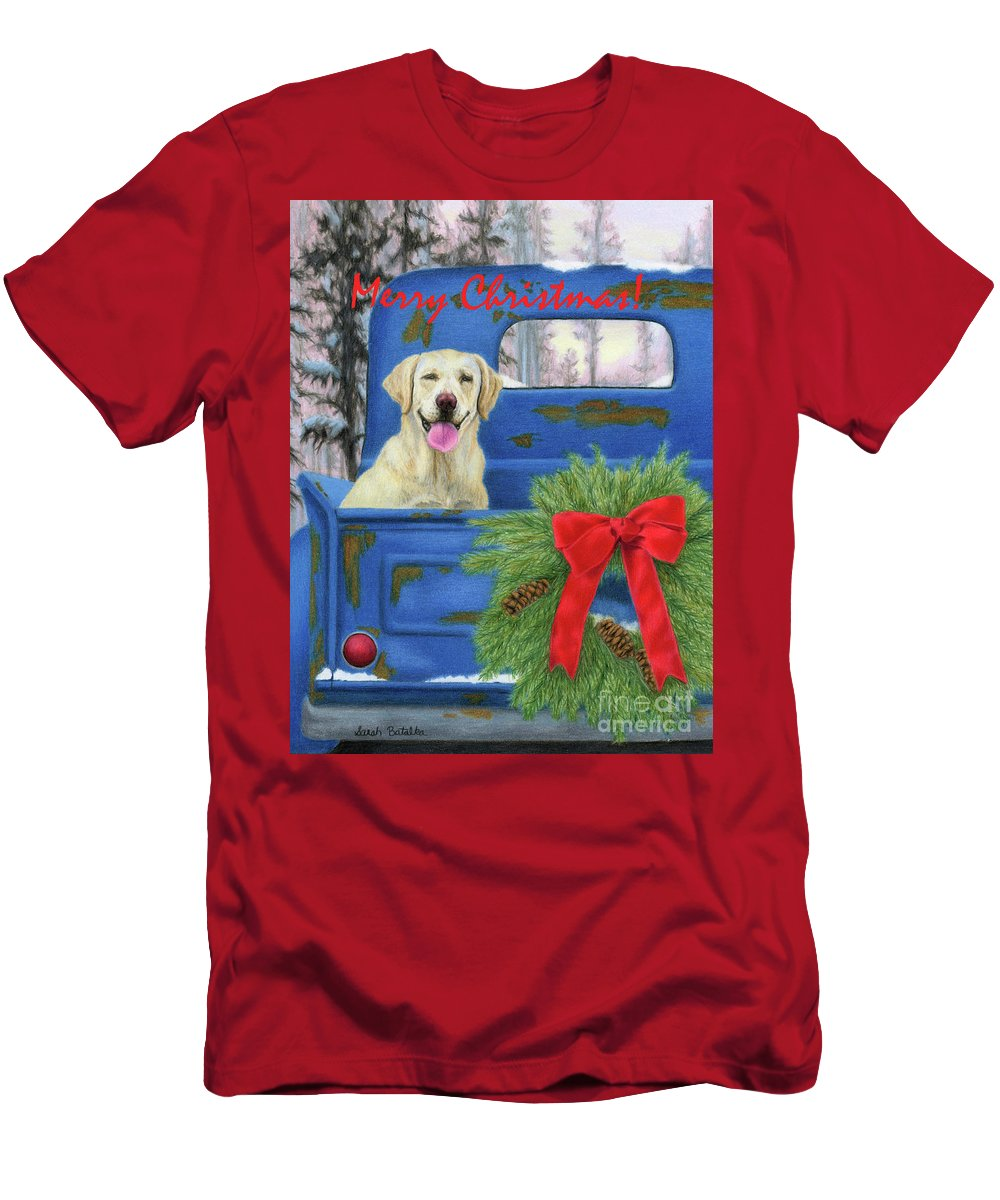 Christmas T-Shirt featuring the painting Pick-en Up The Christmas Tree- Merry Christmas Cards by Sarah Batalka