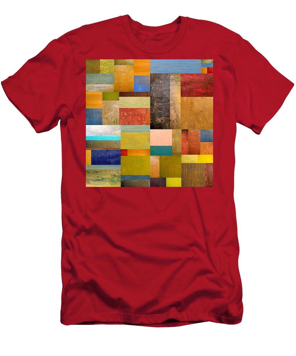 Textural Men's T-Shirt (Athletic Fit) featuring the painting Pieces Project Lll by Michelle Calkins