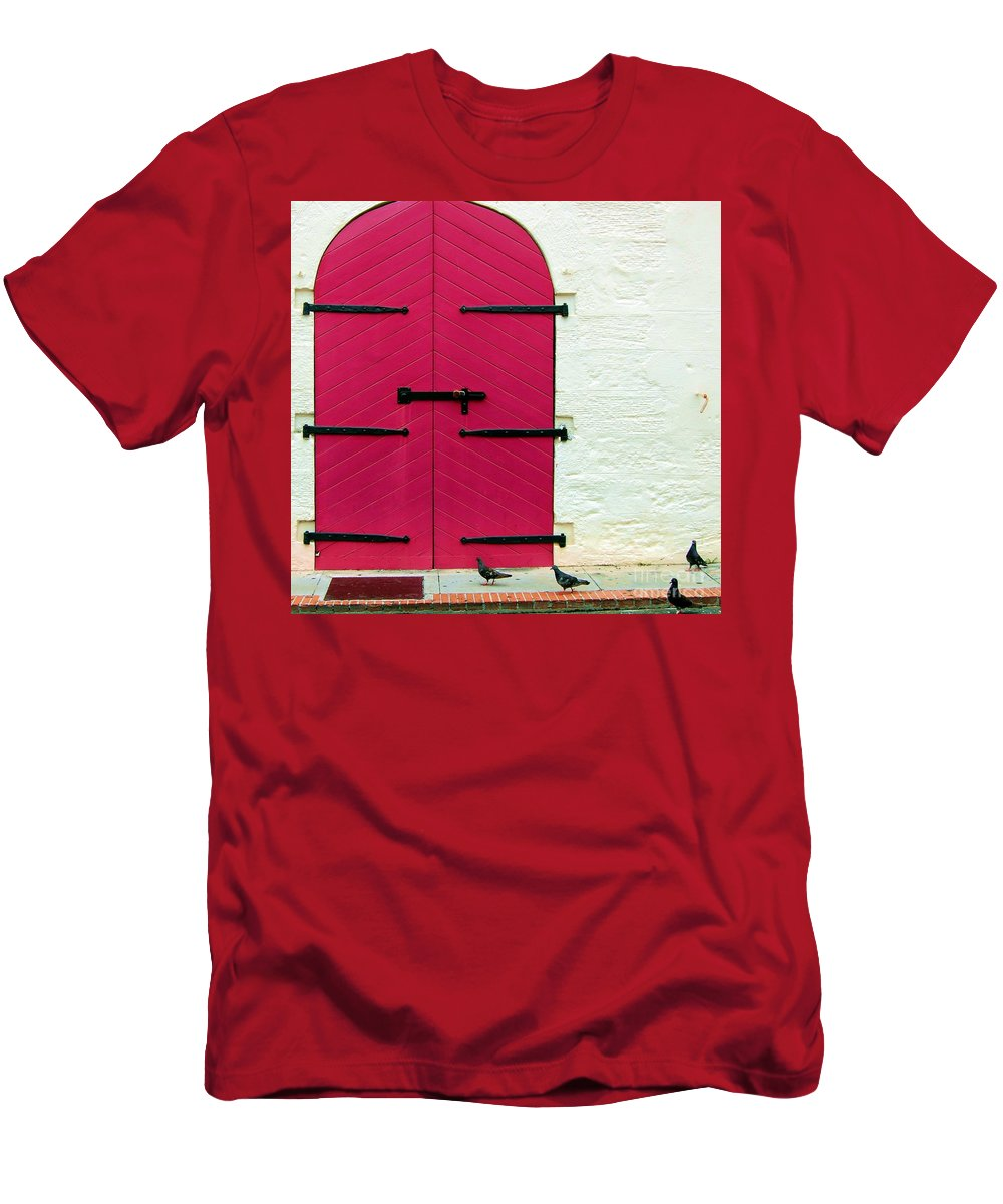 Birds Men's T-Shirt (Athletic Fit) featuring the photograph Pigeon Pink by Debbi Granruth