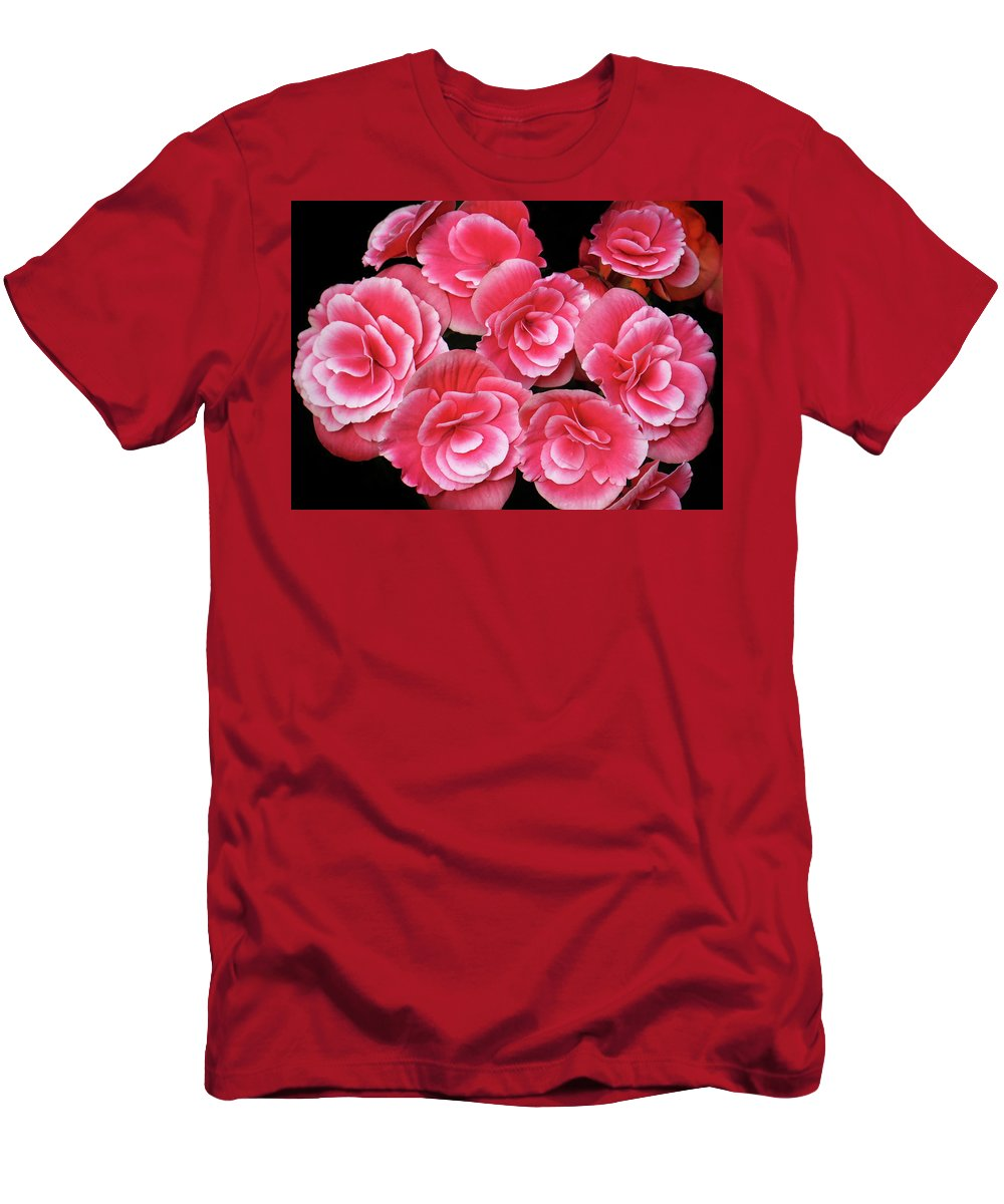Begonias Men's T-Shirt (Athletic Fit) featuring the photograph Pink Begonias by Dave Mills