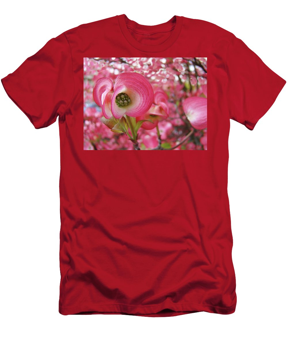 Dogwood Men's T-Shirt (Athletic Fit) featuring the photograph Pink Dogwood Tree Flowers Dogwood Flowers Giclee Art Prints Baslee Troutman by Baslee Troutman