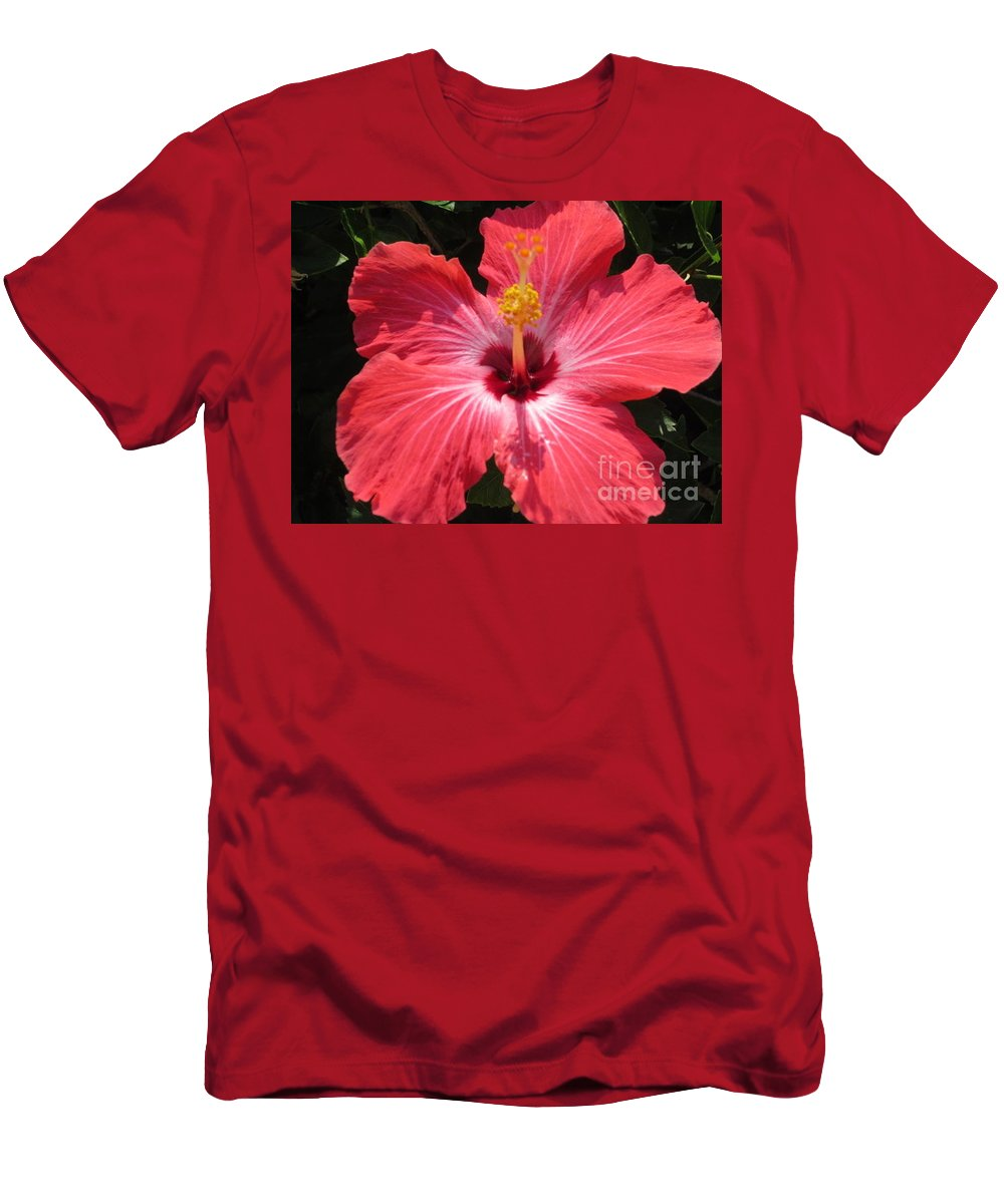 Flower Men's T-Shirt (Athletic Fit) featuring the photograph Pink Hibiscus by Stephanie Bland