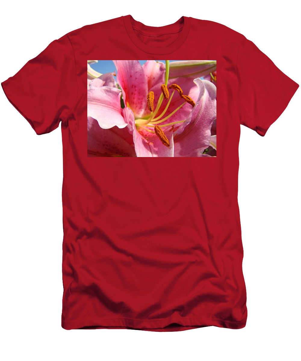 Lilies Men's T-Shirt (Athletic Fit) featuring the photograph Pink Lilies Art Prints Lily Flowers 3 Giclee Artwork Baslee Troutman by Baslee Troutman