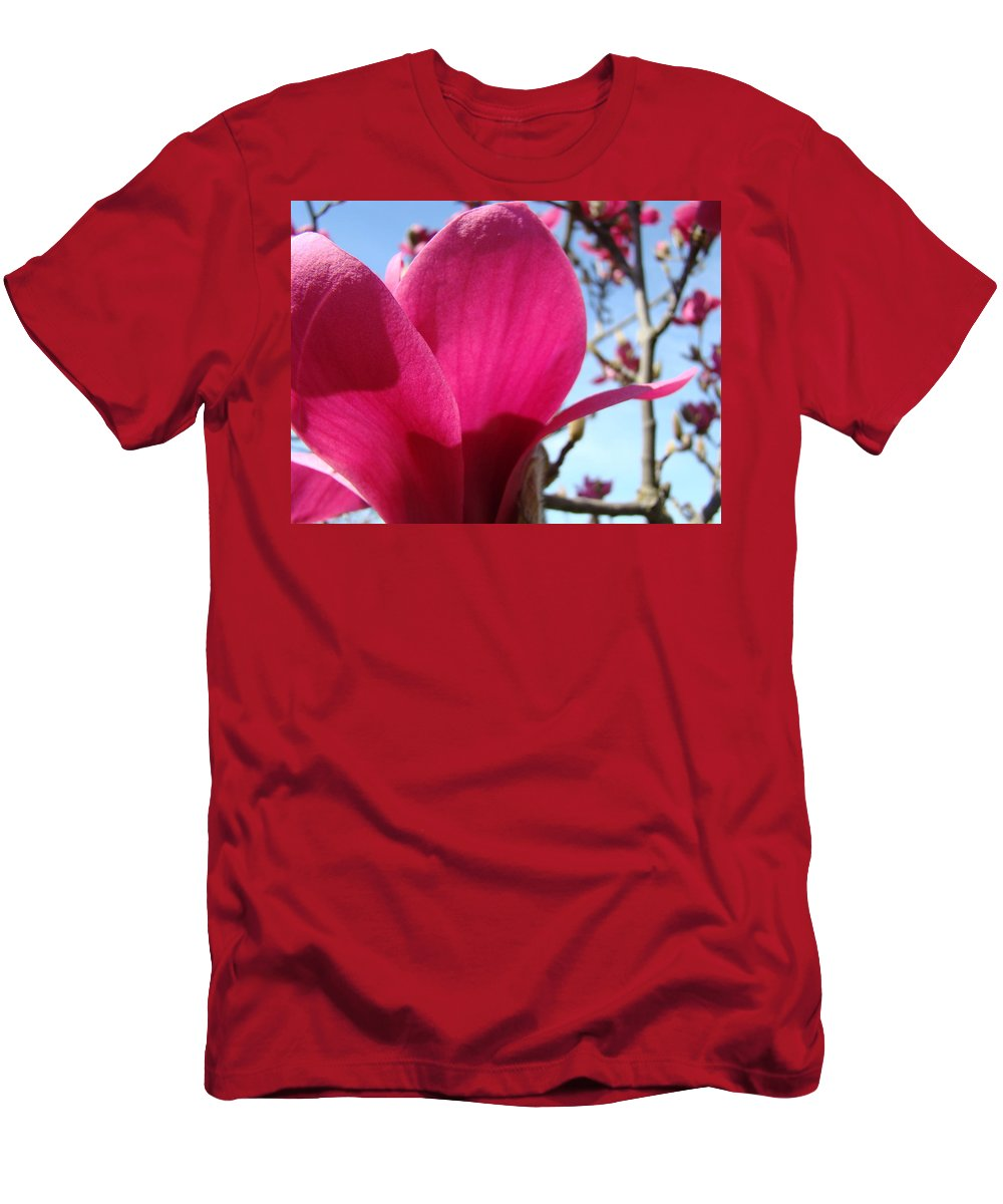 Magnolia Men's T-Shirt (Athletic Fit) featuring the photograph Pink Magnolia Flowers Magnolia Tree Spring Art by Baslee Troutman