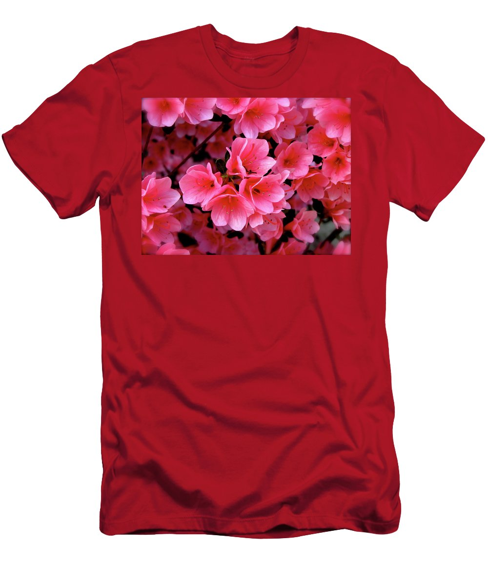 Flowers Men's T-Shirt (Athletic Fit) featuring the photograph Pink by Martin S Gold