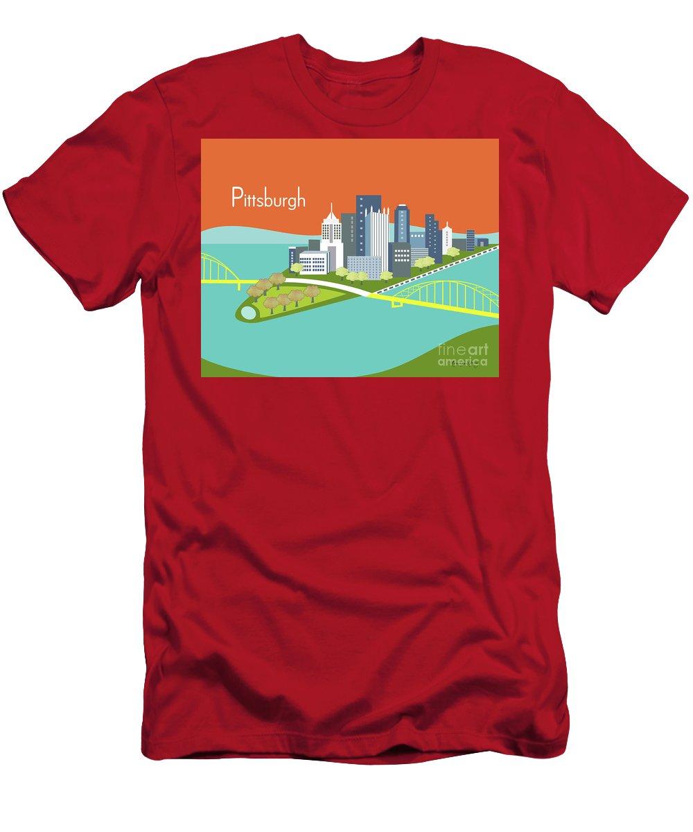 Pittsburgh Men's T-Shirt (Athletic Fit) featuring the digital art Pittsburgh Pennsylvania Horizontal Skyline - Orange by Karen Young