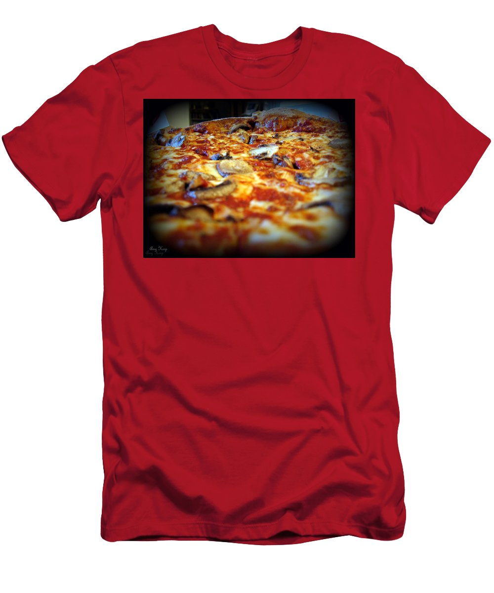 Pizza Men's T-Shirt (Athletic Fit) featuring the photograph Pizza Pie For The Eye by Amy Hosp