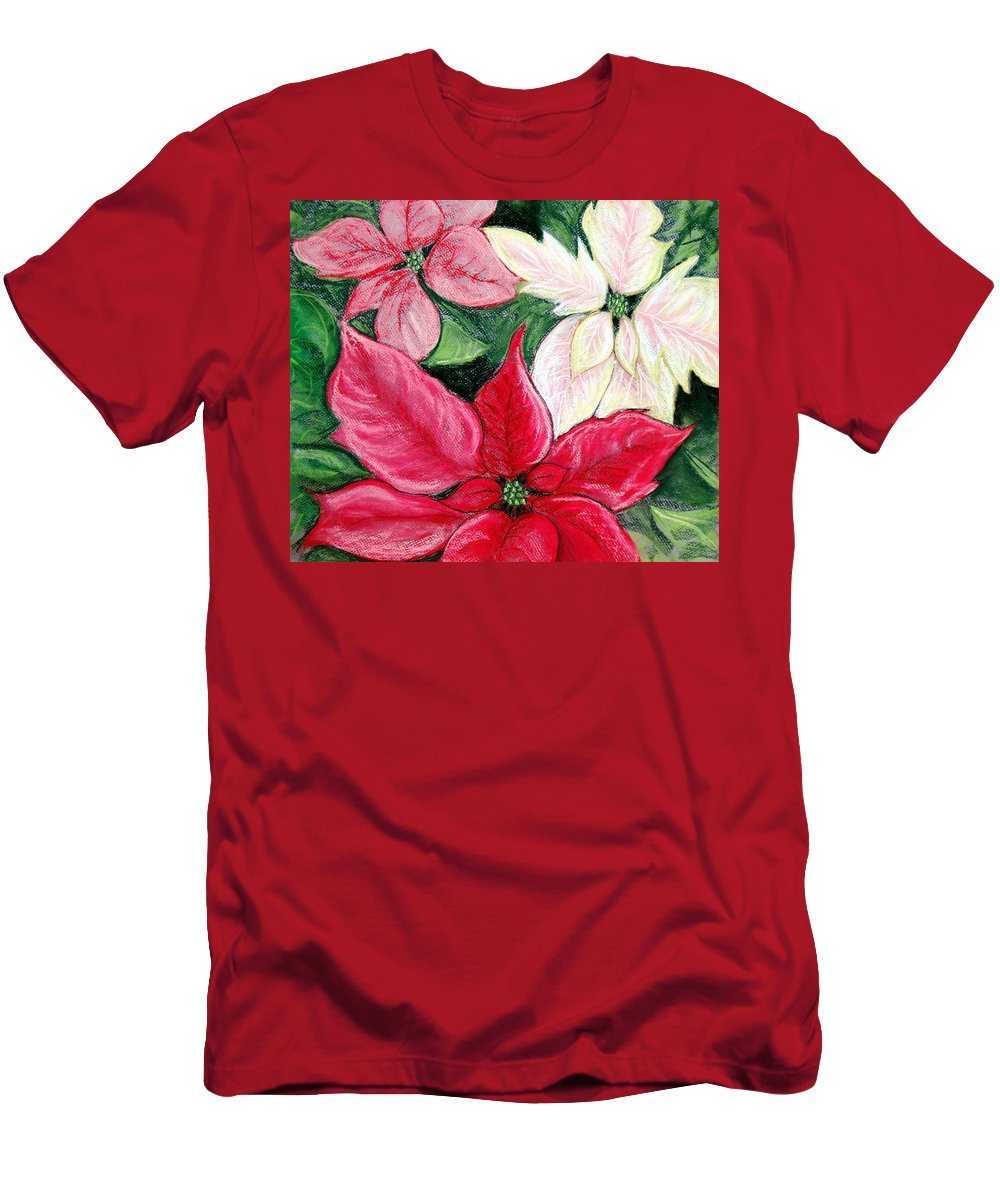 Poinsettia Men's T-Shirt (Athletic Fit) featuring the pastel Poinsettia Pastel by Nancy Mueller