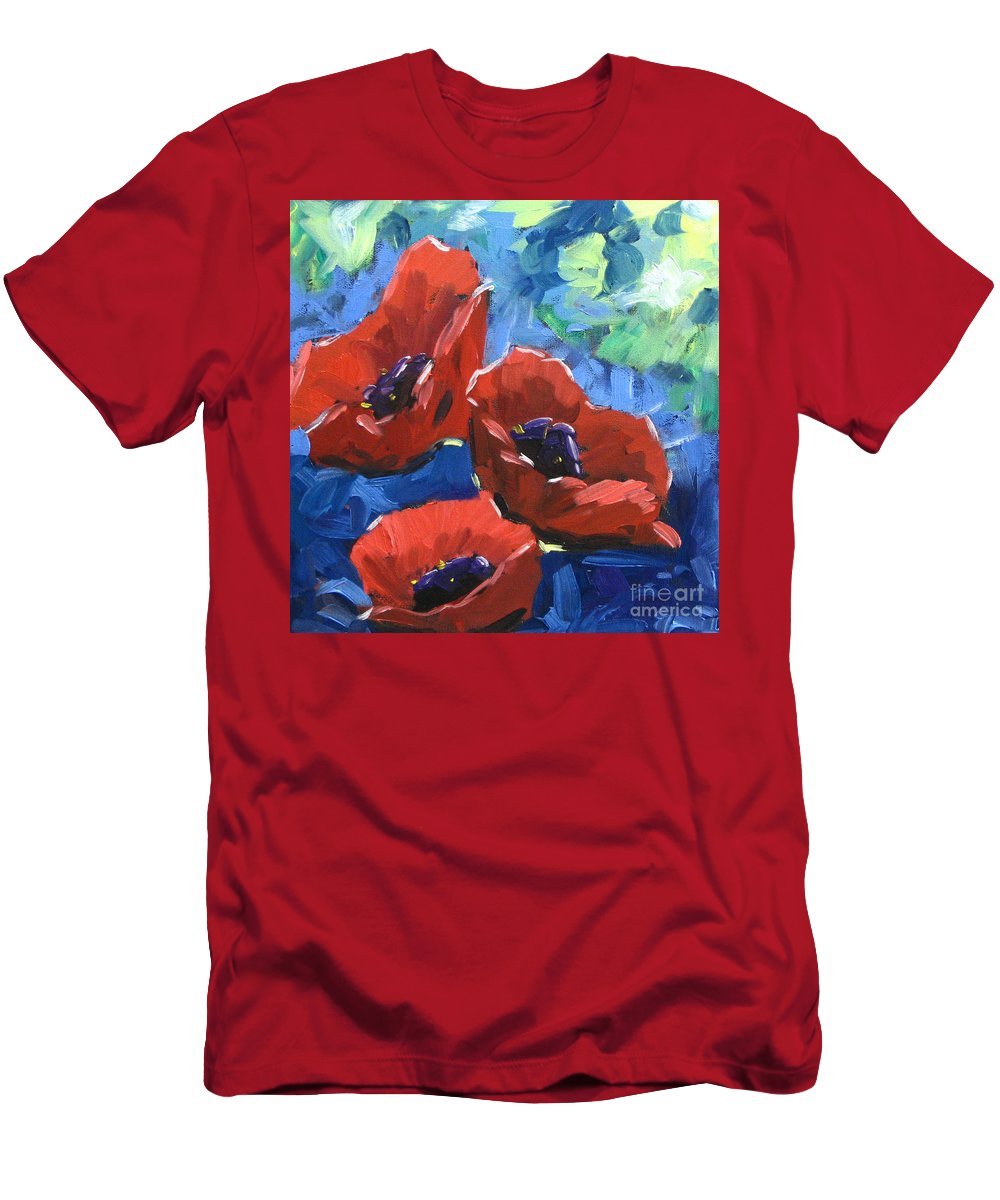 Art Men's T-Shirt (Athletic Fit) featuring the painting Poppies Splender by Richard T Pranke