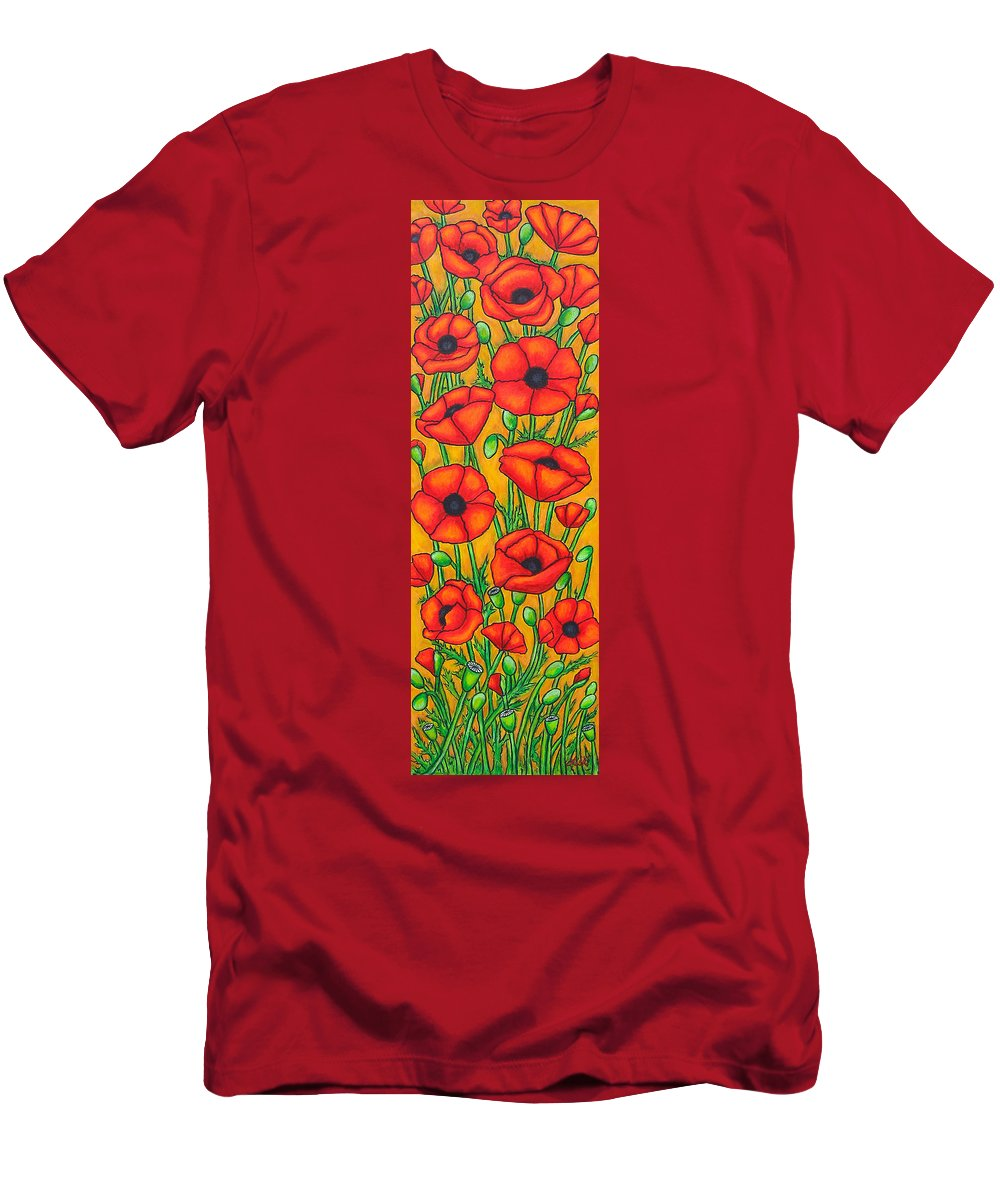 Poppies Men's T-Shirt (Athletic Fit) featuring the painting Poppies Under The Tuscan Sun by Lisa Lorenz