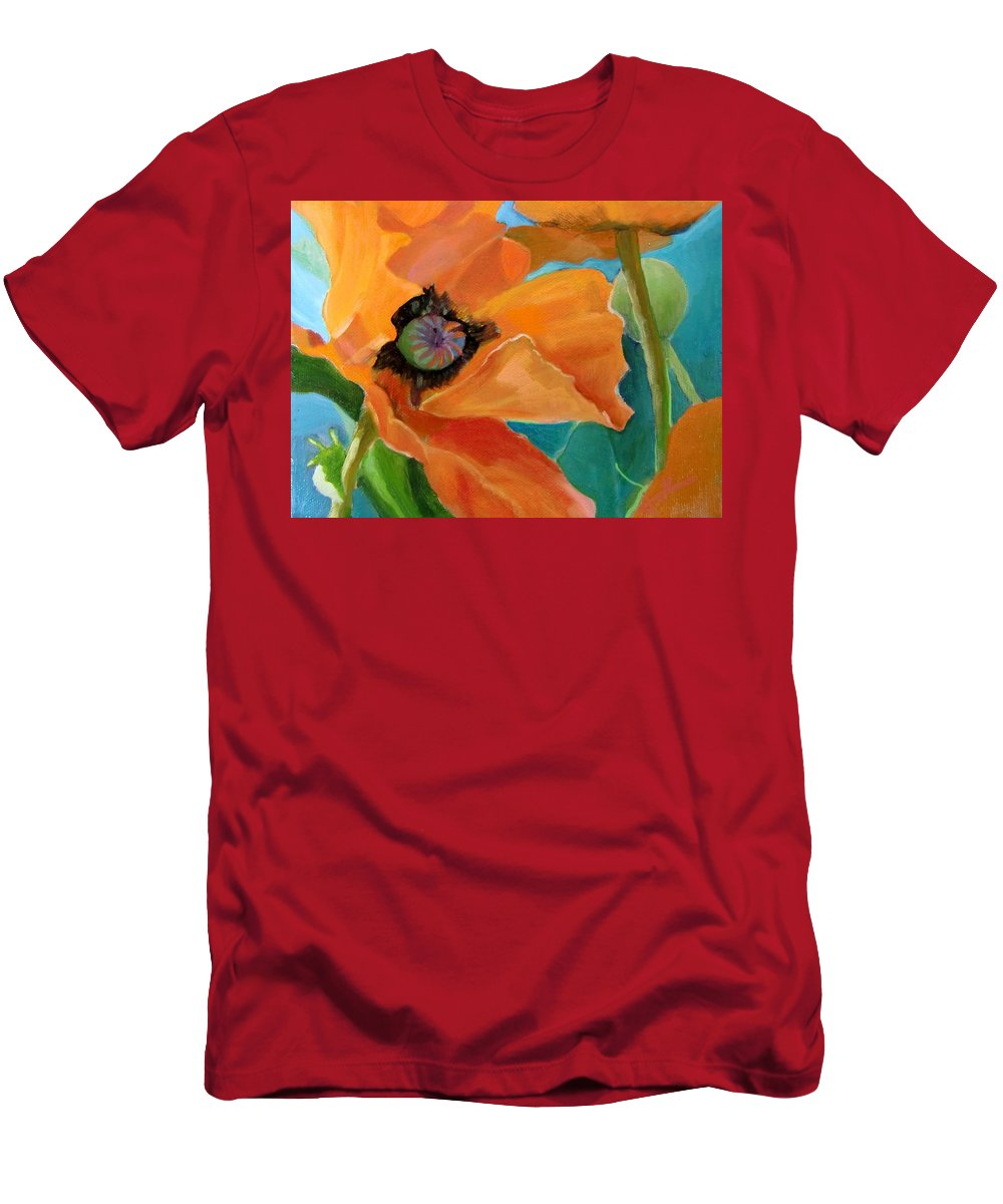Flowers Poppy Painting Orange Men's T-Shirt (Athletic Fit) featuring the painting Poppy by Jean Stark