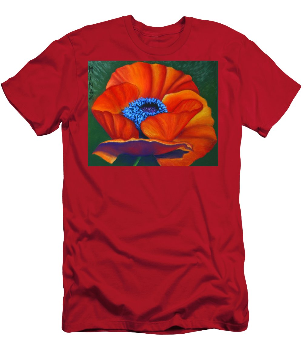 Red Flower Men's T-Shirt (Athletic Fit) featuring the painting Poppy Pleasure by Minaz Jantz