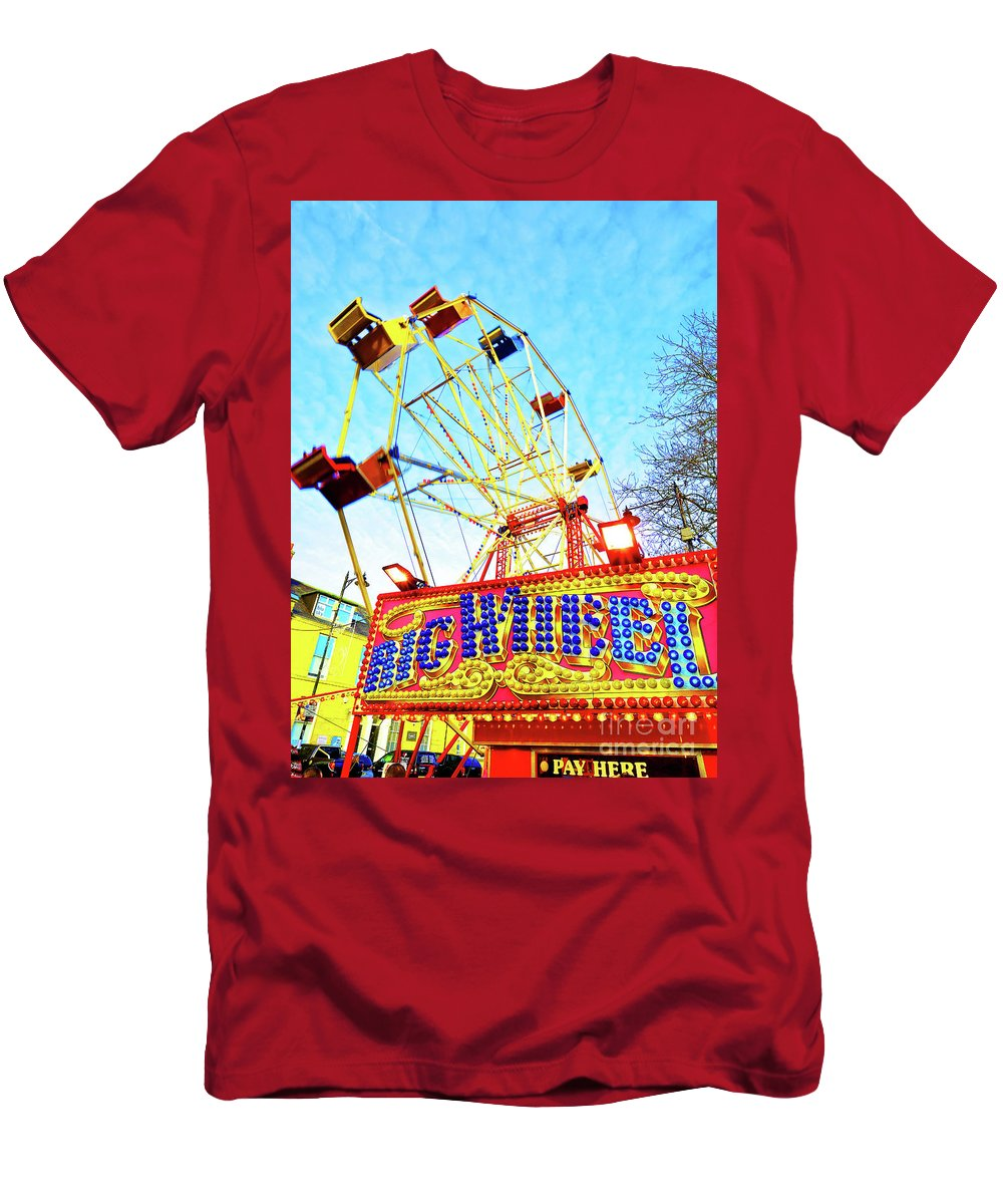 Fair Men's T-Shirt (Athletic Fit) featuring the photograph Portable Ferris Wheel Victorian Winter Fair by Wilf Doyle